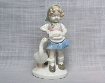 Vintage Girl Feeding Goose Figurine, Antique Germany Girl Figurine, Blue Crown GDR Porcelain Figurine, Girl with Goose Statue