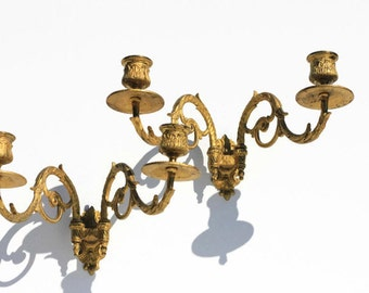 TWO Vintage French Candle Holders, candle sticks,Gilded Brass home decor, wall decoration