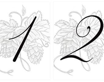 Brewery Hops Printable Wedding Table Numbers | Instant Download | DIY Wedding Table Cards
