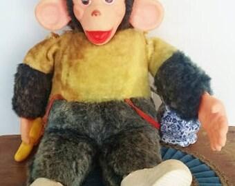 Mr. Bim Stuffed Monkey, Vintage 1960's Toy, Plush Monkey, Monkey with Banana, Zippy Monkey, Howdy Doody, 17 Inch Tall, Monkey with Big Ears