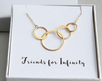 Gold Ring Necklace, Four Friends Necklace, Four Circles Necklace, 4 Rings Necklace, Friends for Infinity Necklace, Gold Ring Necklace, BFF