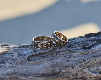 Wedding Band Set, Unique Wedding Rings, His and Hers Wedding Bands,Baltic Ancient Sign Wedding Rings,Pagan Wedding Bands,Bronze Wedding Band