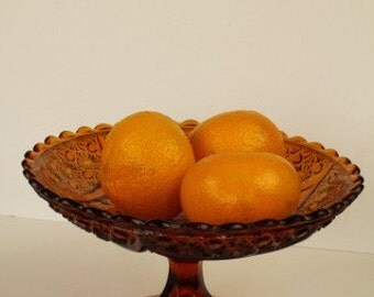 Deep Marigold Pressed Glass Compote