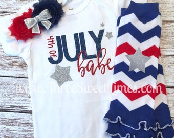 4th Of July Baby Girl Outfit | Bodysuit Optional Leg Warmer Headband | Baby Shower Gift | Red Blue Silver Glitter | Fourth of July | Babe