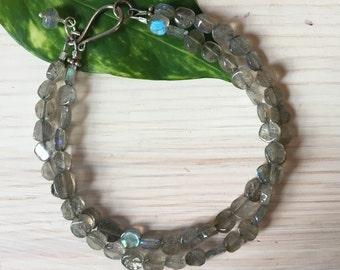 Double Strand Labradorite Bracelet, Gemstone Bracelet, Gift for her