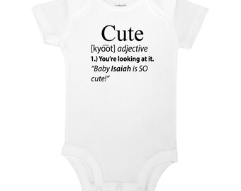 Personalized Name Cute You're Looking At It Definition Adjective Funny Cute Baby One Piece Shirt