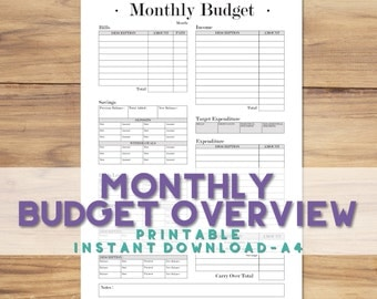 Printable A4 Monthly Budget Tracker | A4 Budget Planner Sheet | Income/Expenditure | Bill and Debt Tracking | Savings Planning | Classic B&W