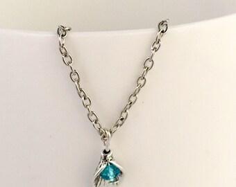 December birthstone necklace, december pendant necklace, december necklace, blue zircon birthstone necklace, blue zircon pendant necklace