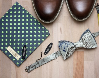 Set selftied reversible bowtie CR288 and pocket square PS046