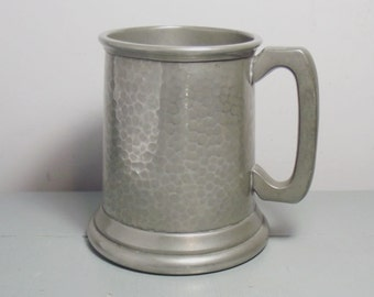 Vintage Hammered Pewter Tankard with Glass Bottom/Pewter Mug/Pewter and Glass Tankard/Hammered Metal Tankard/Craftsman Sheffield Tankard/