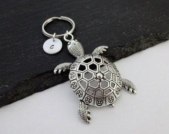 Turtle Keyring, Turtle Keychain, Initial Keyring, Turtle Gift, Tortoise Keyring, Sea Life, Ocean, Tortoise Keychain,Turtle Gifts,Sea Keyring