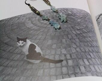 Labradorite Heishi and Aquamarine Chip Antique Brass Dangle Earrings | Labradorite and Aquamarine Gemstone Earrings