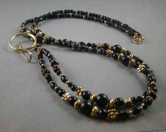 "Black beaded breakaway lanyard necklace with bead chain 32"" to 40"" long gold tone ID badge holder leash ,key card strap , cute glass pearls"