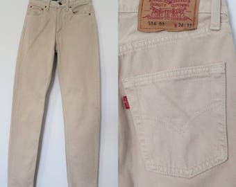 Levis 534 beige jeans, high waisted pants trousers, straight tapered leg, high rise, womens, vintage retro, waist 24.5, x small