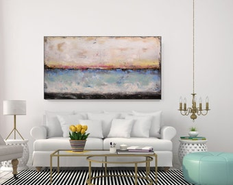 Large Abstract Art Original Acrylic Painting Blue Abstract Ocean Painting Canvas Wall Art, Large Artwork Blue Living Room Art, Christovart