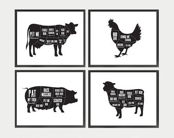 Vegan Art, Vegan Butcher Diagrams, Funny Kitchen Art, Vegan Animal Prints, Gift for Vegan