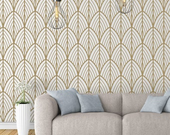 Art Deco - Leaves - Wallpaper - Outlines - Mid Century Modern - Removable Wallpaper - Peel & Stick - Self Adhesive Fabric - SKU: ARTDEC
