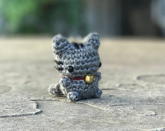 Mini Lucky Cat Amigurumi - Lucky Cat Plush - Gray Cat Amigurumi - Mini Kitty Plush - Kitty Keychain - Lucky Cat Keychain - Good Luck Charm