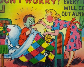 1940's Humor Postcard // Don't Worry Everything Will come Out Alright // Colourpicture Publication // Get Well Card // Vintage Postcard