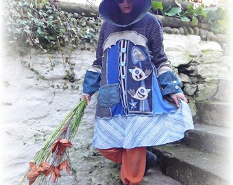 Upcycled Dress, Blue Smock, Hooded Sweater, Folk Jumper, Cashmere Dress, Whimsical Dress, Unique, Recycled, Eco Wearable Art, Medium, Large
