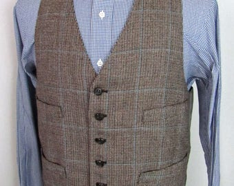 Vintage Wool TWEED Vest ~ size 40 to 42 R ~ Waistcoat ~ Wedding ~ Glen Plaid ~ L