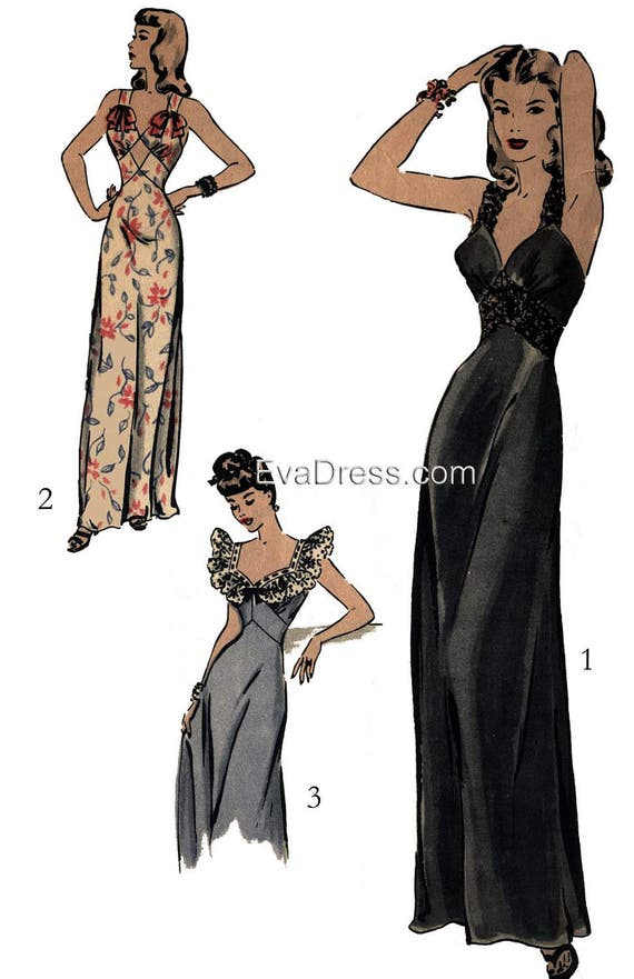 1940s Fabrics and Colors in Fashion 1940s Nightgown Pattern by EvaDress  AT vintagedancer.com