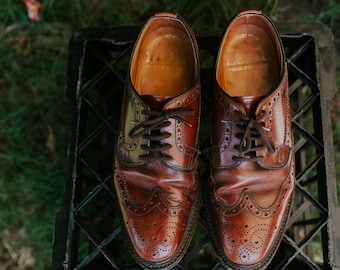 Size 7.5 Rounded End Caramel Leather Oxford Brogues