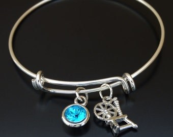 Spinning Wheel Bangle Bracelet, Adjustable Expandable Bangle Bracelet, Spinning Wheel Charm Bracelet, Knitting Jewelry, Spinning Wheel Gift