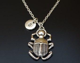 Scarab Necklace, Scarab Charm, Scarab Pendant, Scarab Jewelry, Scarab Beetle, Egyptian Necklace, Beetle Necklace,Beetle Charm,Beetle Jewelry