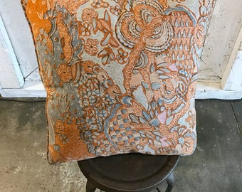 Vintage Batik and Velvet Cushion
