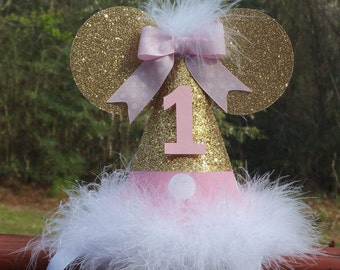 Pink and gold glitter Minnie Mouse birthday hat