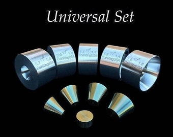 "UNIVERSAL COMBO SET! 5 Universal Folding/Reduction Dies (.7"" - 1.6"" inch @ 17-Degrees) and Stainless Steel Stabilizer Folding Cones!"
