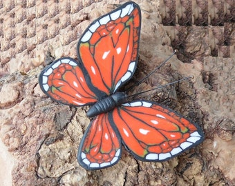 Mahaon butterfly brooch monarch pin polymer clay jewelry gift  for her insects jewelry bright accessory butterfly jewelry butterfly pin