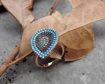 Silver Ring,Blue Zirconia Ring,Modern Ring,Birthday Gift,Womans Ring,Statement Ring