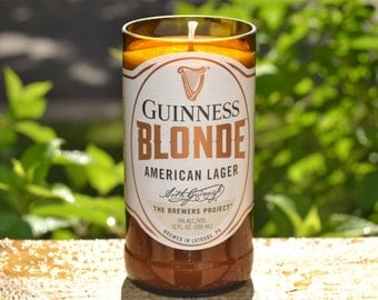 Guinness Blonde lager beer bottle candle made with soy wax