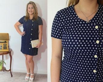 60s Shift Dress / Retro Pattern Dress / Short Sleeve Vintage Dress / 60s Mini Dress / Button Up Front / UK Size 14 - 16