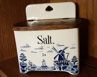Vintage Salt box Ceramic Salt Cellar with wood lid Made in Germany Blue Windmill