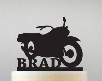 Motorcycle Cake Topper with Name - Standard Acrylic - Grooms Cake - Birthday - 121