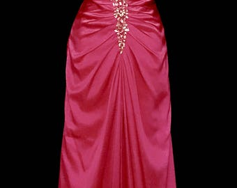 Hot Pink Satin Gown With Rhinestone Cascade     VG305