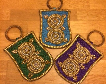 Silk Wristlet with Zardosi Embroidery on both sides- Turquoise, Green or Purple