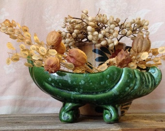 USA Pottery Planter Green Pottery Planter Succulent Planter Vintage Green Planter