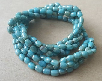 Vintage 1940s Pale Turquoise Blue Glass Lustre Multistrand Twisted Beads