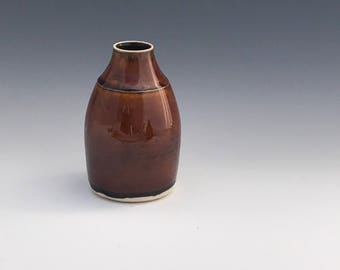 Small Gloss Bronze Pottery Bud Vase - Bronze Pottery Flower Vase - Ceramic Pottery Vase - Bud Vases