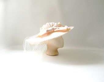 Vintage Ivory Lace Hat / Wedding Bridal Hat with attached Veil