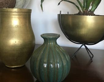 Vintage Ceramic Bud Vase//Glazed Pottery//Green Blue and Brown Glaze Clay//Midcentury Modern Home Decor//MCM Vintage Shelf Display