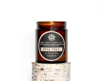Pine Tree Candle || Hand Poured || Organic Soy Wax // Amber Glass Jar