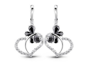 Butterfly Earrings Heart Earrings Love Earrings Black Earrings Silver CZ Earrings Bridal Earrings Wedding Earrings Valentine Gift for Her