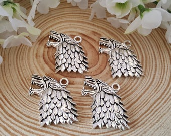 4 Antiqued Silver Dire Wolf Head Charms | Starks Direwolves | Winter is Coming | Game of Thrones Charm | 2250