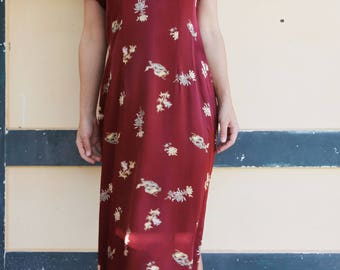 Vintage Chinese style burgundy red floral satin collared maxi dress.size 3