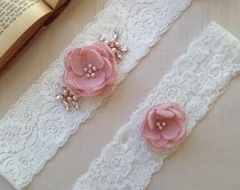 Wedding Garter Set, Flower Garter, Bridal Garter Set, Lace Garter, Ivory Garter Set, Lace Garter Set, Keepsake Garter, Tossing Garter